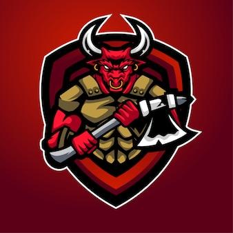 Logo maskotki sportowej beast bull dla zespołu gry