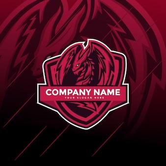 Logo maskotki sportowej dragon e