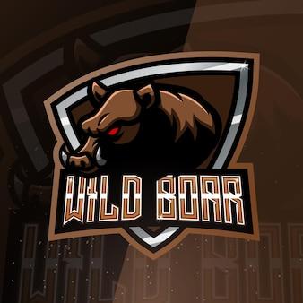 Logo maskotki sportowej dzika