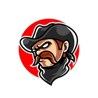 Logo maskotki sportowej głowy kowboja