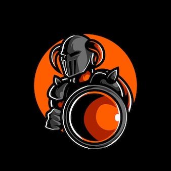 Logo maskotki sportowej głowy rycerza