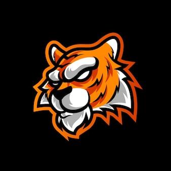 Logo maskotki sportowej głowy tygrysia