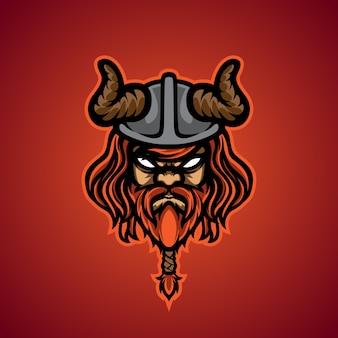 Logo maskotki sportowej głowy wikinga