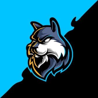 Logo maskotki sportowej głowy wilka