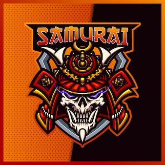 Logo maskotki sportowej i sportowej samurai skull