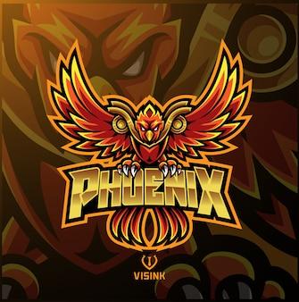 Logo maskotki sportowej phoenix