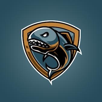 Logo maskotki sportowej ryby drapieżnej