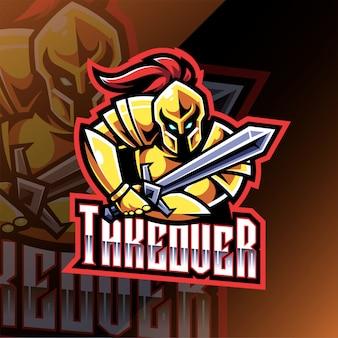 Logo maskotki sportowej rycerza