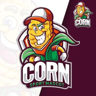 Logo maskotki sportowej trenera kukurydzy