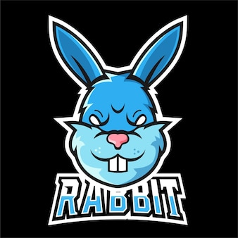 Logo maskotki sportu królika i e-sportu .