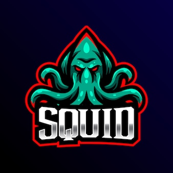 Logo maskotki squid ilustracja sportowa.