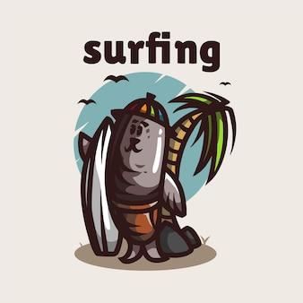 Logo Maskotki Surfingowej Lwa Morskiego Premium Wektorów