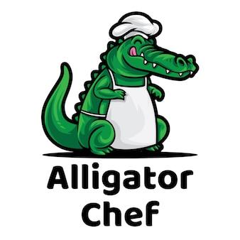 Logo maskotki szefa kuchni aligatora