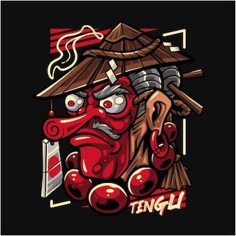Logo maskotki tengu