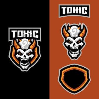 Logo maskotki toksycznej czaszki dla drużyny e-sportowej zajmującej się grami sportowymi