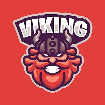 Logo maskotki viking head dla sportu i e-sportu na białym tle