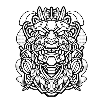 Logo maskotki vintage mecha oni