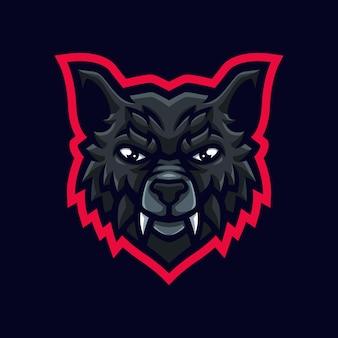 Logo maskotki wilka do gier twitch streamer gaming esports youtube facebook