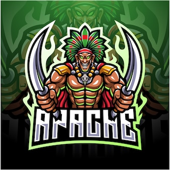 Logo maskotki wodza plemiennego esport