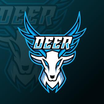 Logo maskotki z białego jelenia do gry drużynowej