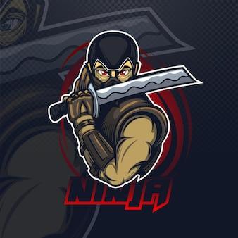 Logo maskotki z ninja dla drużyny e-sportowej lub cybernetycznej.