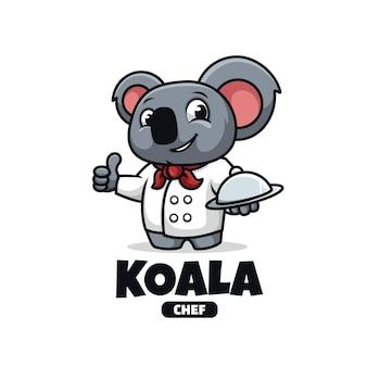 Logo maskotki z szefem kuchni koala na białym tle