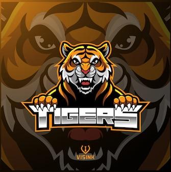 Logo maskotki z twarzą tygrysa