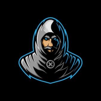 Logo maskotki zabójcy, z tajemniczą twarzą z wąsami w szarej szacie