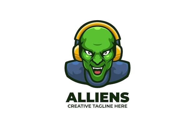 Logo maskotki zielonych obcych