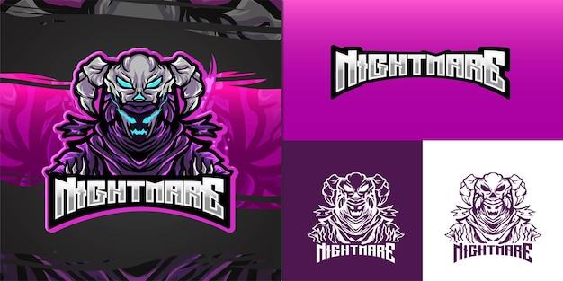 Logo maskotki zła koszmar dla ilustracji e-sportu