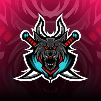 Logo maskotki zły czarnych wilków