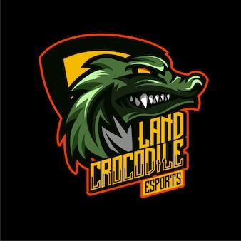 Logo maskotki zły krokodyl aligatora