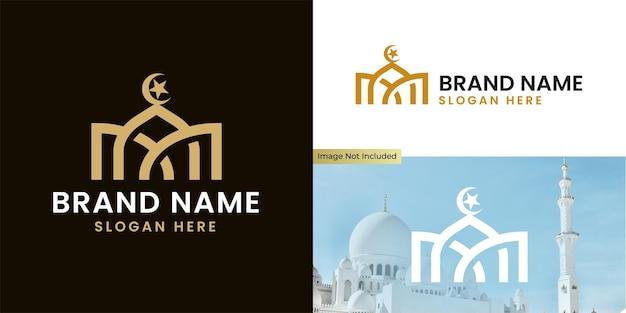 Logo meczetu z eleganckim minimalistycznym stylem linii