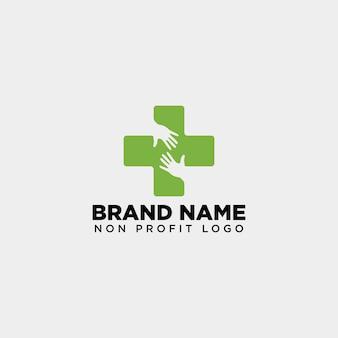 Logo medycznej opieki zdrowotnej dla osób ze skrzyżowanymi rękami