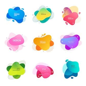Logo memphis. abstrakcjonistyczny dekoracyjny kolorowy kształty maluje projekta projektów szablon
