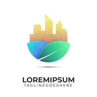 Logo miasta ekologicznego z budynkiem i liściem