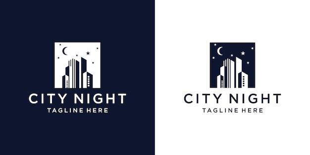 Logo miasta nocą z sylwetką widoków miasta i budynków