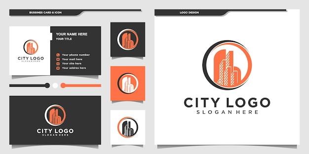 Logo miasta z nowoczesną koncepcją koła z unikalnym kształtem i projektem wizytówek dla firmy premium wektor