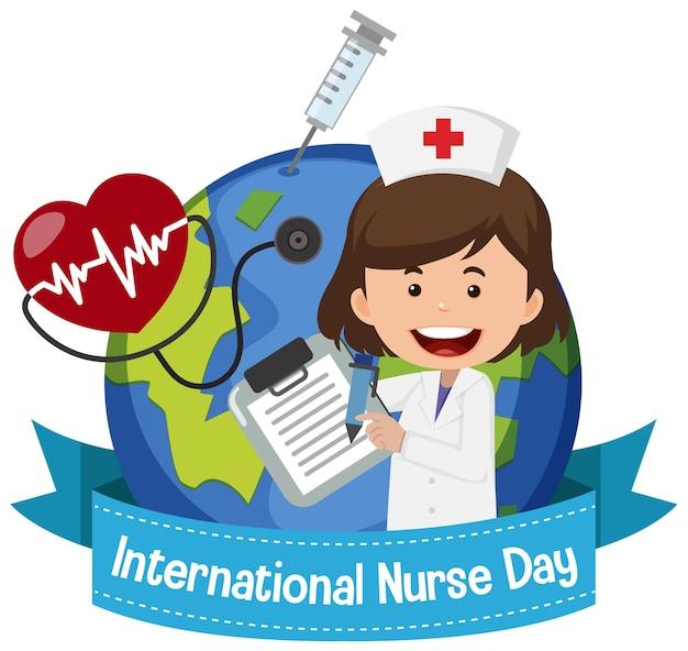Logo międzynarodowego dnia pielęgniarki z uroczą pielęgniarką na tle świata