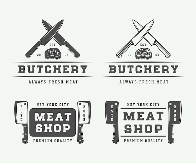 Logo mięsa rzeźniczego, steków lub grilla