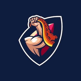 Logo mięśnia z krakenem i wektorem