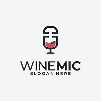 Logo mikrofonu, logo podcastu wina.