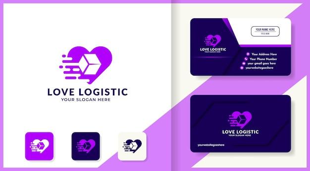 Logo miłości i negatywnego pudełka oraz projekt wizytówki