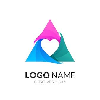 Logo miłości, nowoczesny styl logo w żywych kolorach gradientu