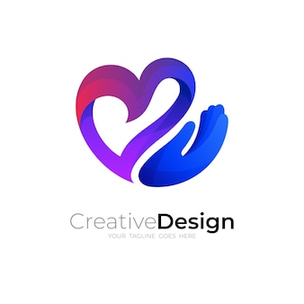 Logo miłości z kombinacją projektu dłoni, kolorowa ikona