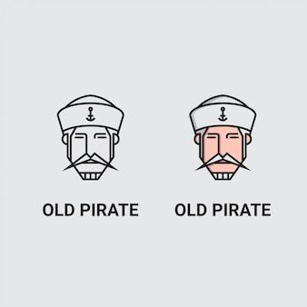 Logo minimalistycznej głowy żeglarza,