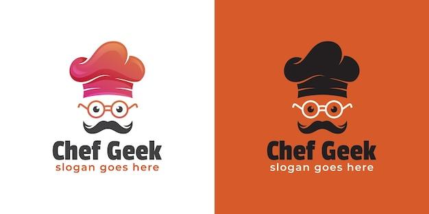 Logo mistrza kuchni lub szefa kuchni geeka i profesjonalnego gotowania