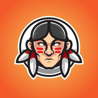 Logo młody indian mężczyzna maskotka