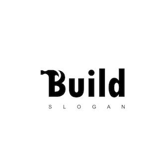 Logo młotka do budowy, konserwacji i naprawy domu