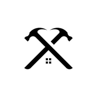 Logo młotka do konserwacji konstrukcji i naprawy domu